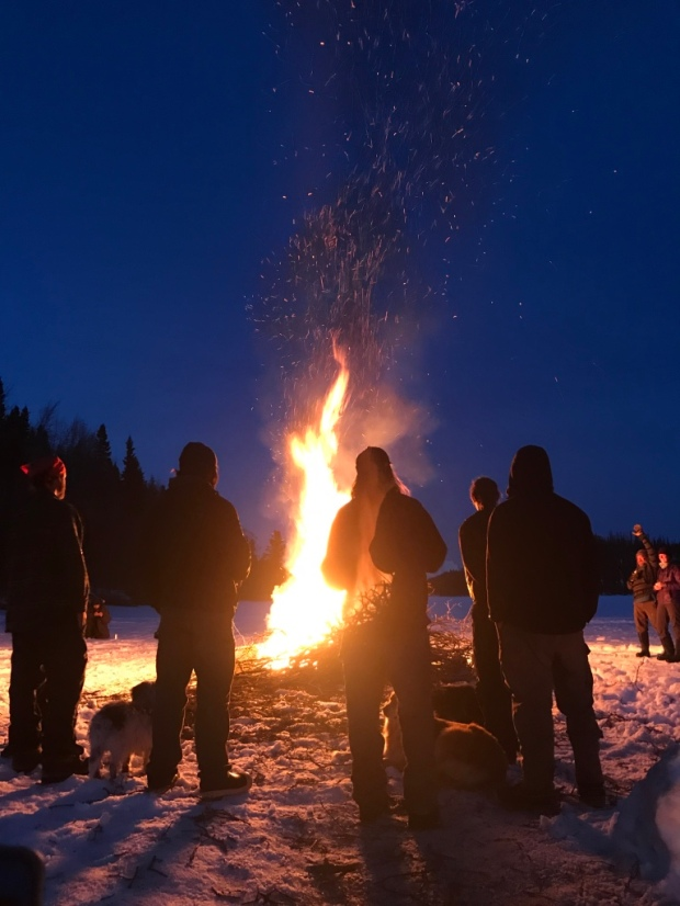 Beneath the Borealis Chore Strong 04-09-18 Long Lake Alaska Bonfire