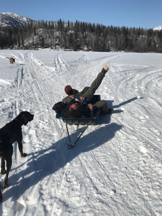 Beneath the Borealis Chore Strong 04-09-18 Long Lake Alaska Sledding