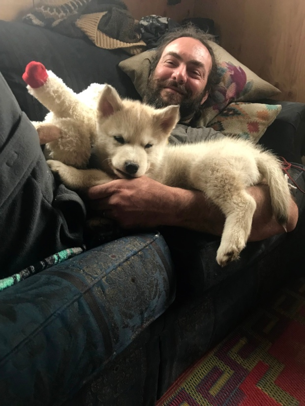 Beneath the Borealis The Fluff Part II, 04-22-19, Malamute pup and The Chief
