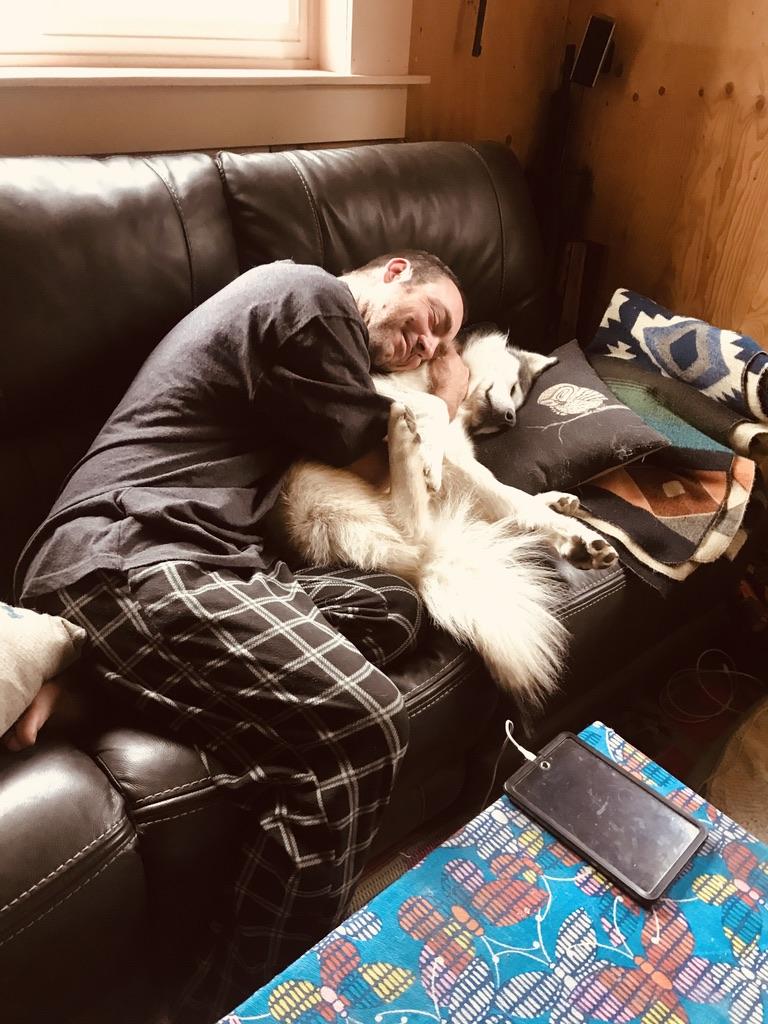 Alaskan Malamute and Dad